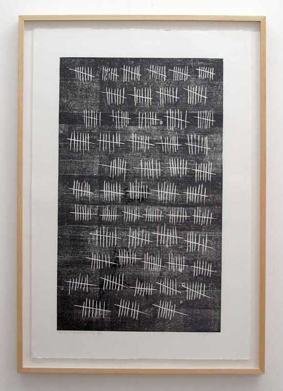 Arnaud Maguet, Eight Days A Week (prisonnier de la pop), 2010 Engraving on wood print on Fabriano paper framed edition of 35 prints, 120 x 80 x 5 cm